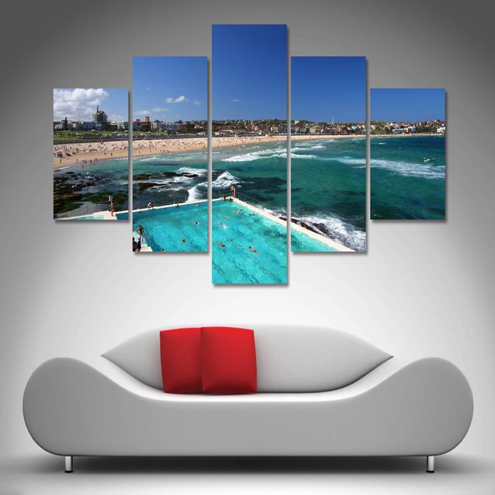 Bondi Beach 5 Panel Wall Art | Canvas Printing Australia in 5 Panel Wall Art - Wall Art and Wall Decor Ideas